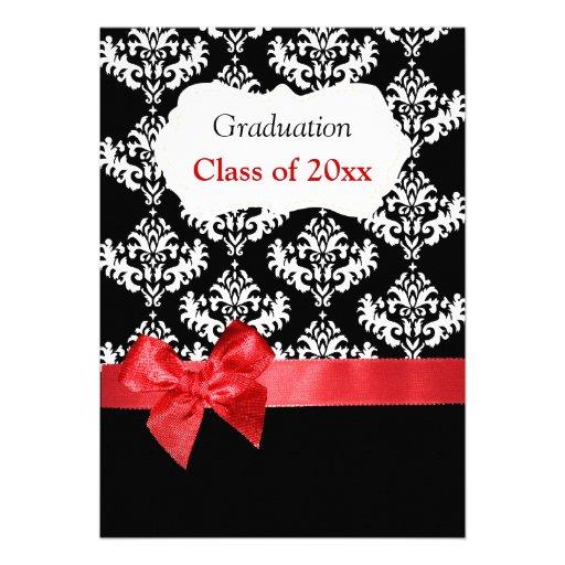 Black Damask & Red Ribbon Graduation Invitation