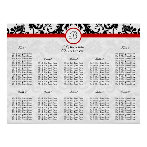 Black Damask Red Trim Seating Chart Table Numbers print