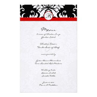 Black Damask Red Trim Wedding Menu