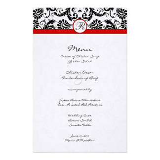 Black Damask Red Trim Wedding Menu Stationery