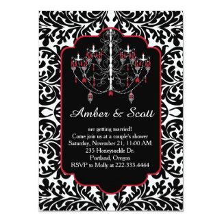 Black damask, red white chandelier card