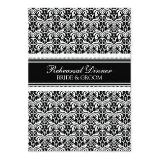 Black Damask Rehearsal Dinner Party 5x7 Paper Invitation Card