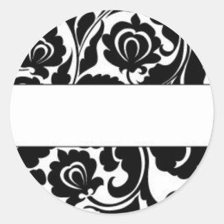 Black Damask Return Address Classic Round Sticker