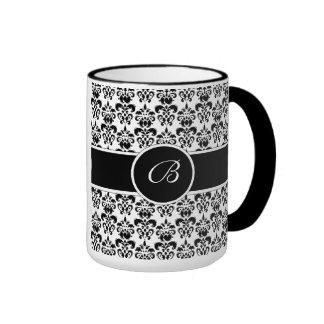 Black Damask Ringer Mug