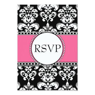 Black Damask RSVP Pink for Square Invitations