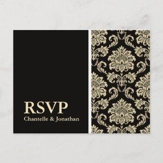 Black Damask RSVP Postcard postcard