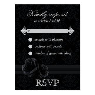 Black damask RSVP postcards with lace rose