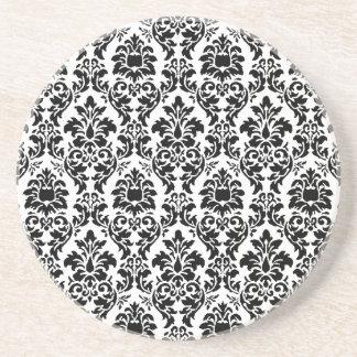 Black Damask Sandstone Coaster