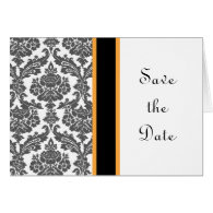 black damask save the date card greeting card