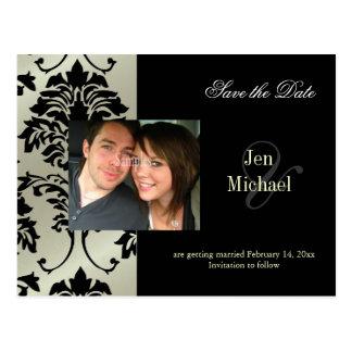 Black Damask Save the Date Photo postcards,