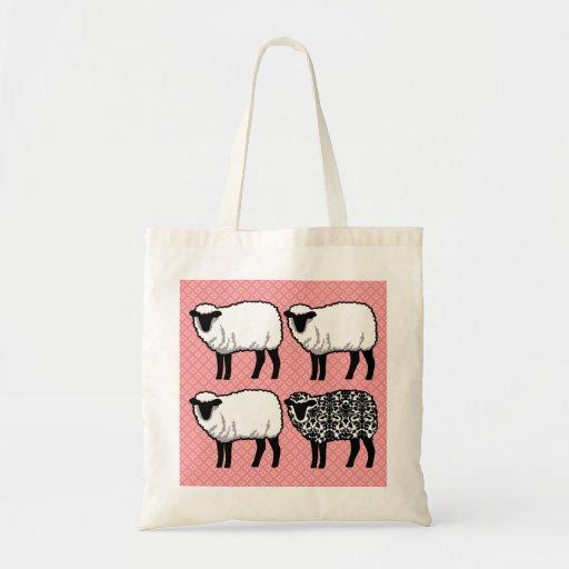 Black Damask Sheep Budget Tote Bag