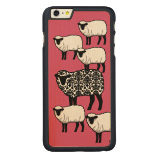 Black Damask Sheep Carved Maple iPhone 6 Plus Slim Case