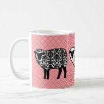 Black Damask Sheep Coffee Mug