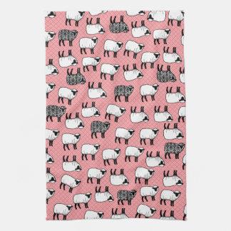 Black Damask Sheep Kitchen Towels