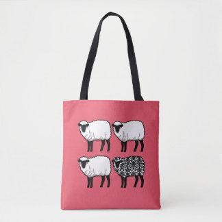 Black Damask Sheep on Pink Tote Bag