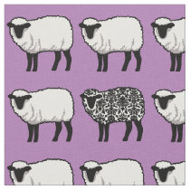Black Damask Sheep on Purple Fabric