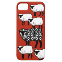 Black Damask Sheep on Red iPhone SE/5/5s Case