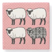 Black Damask Sheep Stone Coaster