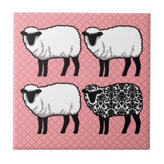 Black Damask Sheep Tile