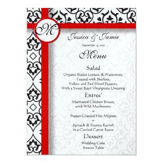 Black Damask Side Borders Red Trim Wedding Menu Card