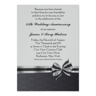 black damask silver 25th anniversary party card - Wedding Invitations Rochester Ny