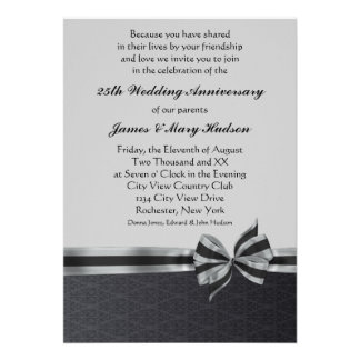 Black Damask Silver 25th Anniversary Party Personalized Invites