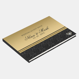 Black Damask Silver Gold Heart Guest Book