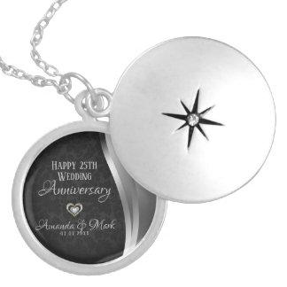 Black Damask Silver Satin- Anniversary Locket Necklace