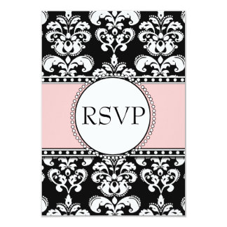 Black Damask Soft Pink RSVP for Square Invitations