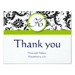 Black Damask Swirl Green Wedding Thank You Cards