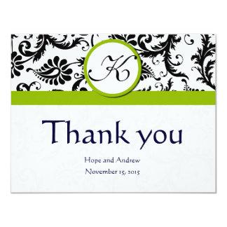 Black Damask Swirl Green Wedding Thank You Cards