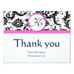 Black Damask Swirl Pink Wedding Thank You Cards