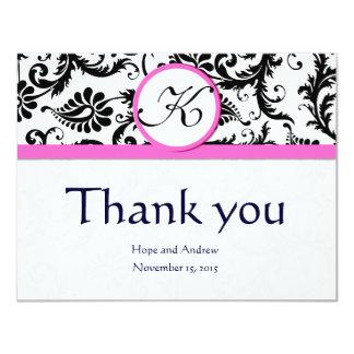 Black Damask Swirl Pink Wedding Thank You Cards