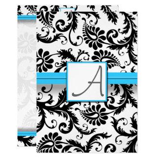 Black Damask Swirls  Bright Aqua Raised Trim Card