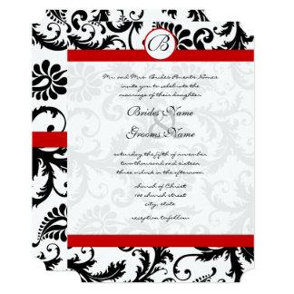 Black Damask Swirls Red Trim Wedding Invitation