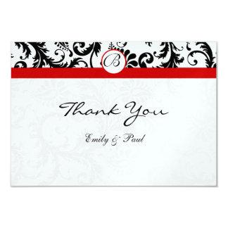 Black Damask Swirls Red Trim Wedding Thank You Card