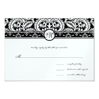 Black Damask Swirls Square Wedding Invitation
