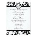 Black Damask Swirls Wedding Invitation