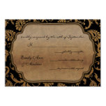 "Black Damask Swirls Wedding RSVP 3.5"" X 5"" Invitation Card"