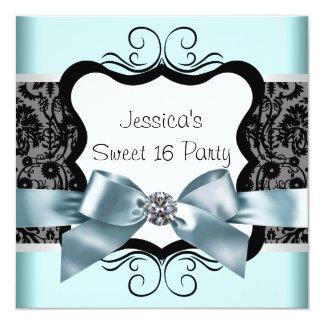 Black Damask Teal Blue Black Sweet 16 Birthday Par Card