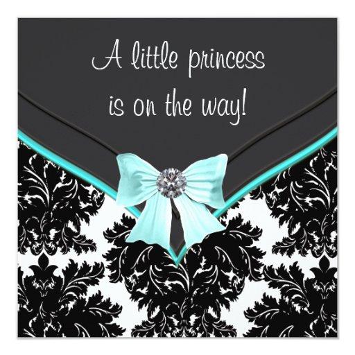 Black Damask Teal Blue Bow Princess Baby Shower 5.25x5.25 Square Paper Invitation Card