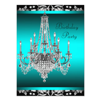 Black Damask Teal Blue Chandelier Birthday Party Card