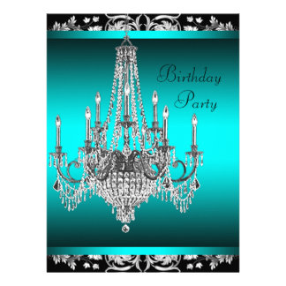 Black Damask Teal Blue Chandelier Birthday Party Personalized Announcements