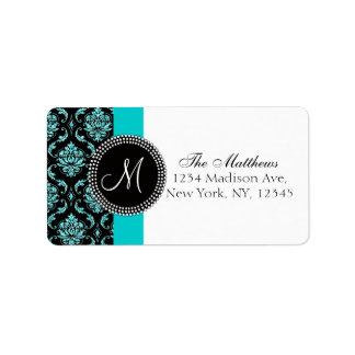 Black Damask Teal Glitter Printed Monogram Label