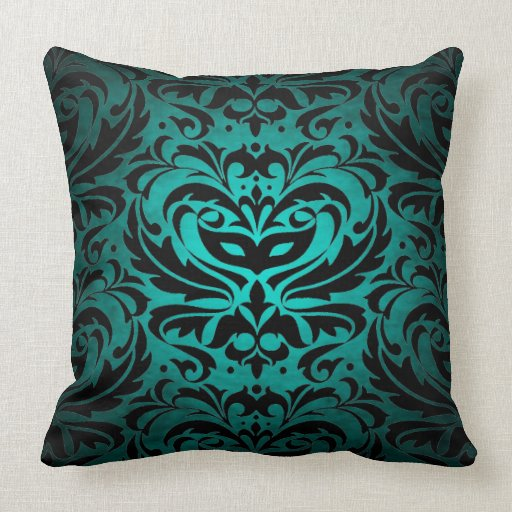 Teal And Black Decorative Pillows : Black Damask Teal Scroll Reversible Pillow Zazzle