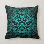 Black Damask Teal Scroll Reversible  Pillow