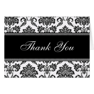 Black Damask Thank You Cards