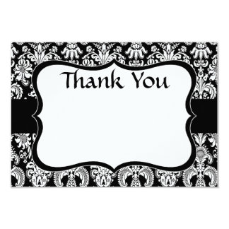 Black Damask Thank You note Card