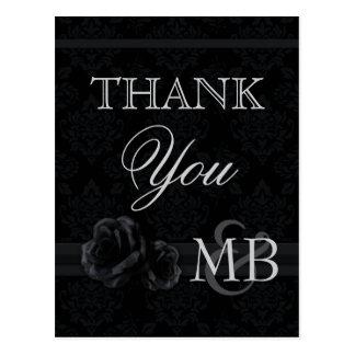 Black damask Thank You postcards Black silk rose