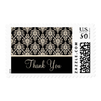 Black Damask Thank You Stamps